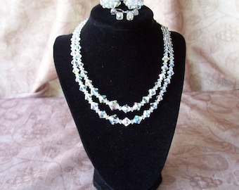 Vintage Aurora Borealis crystal necklace and earrings.  T833-.25