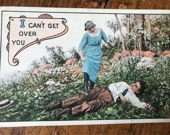 """1900s """"I Can't Get Over You"""" Vintage Valentine's, Love, Romance Postcard"""