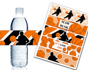 Basketball Water Bottle Labels, Printable Water Bottle Labels, Basketball Party Decor, Birthday, Baby Shower - Instant Download - DP442