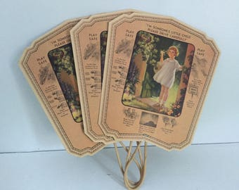 3 Vintage Meyer Funeral Home Advertising Play Safe / Child Safety Paper Hand Fan with Wooden Handle Made in USA