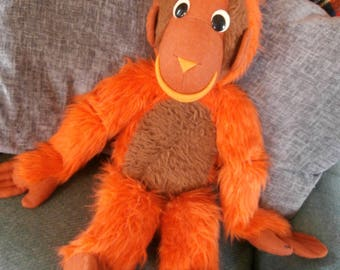 Vintage 60s 70s Giant Oranutan Plush Carnival Circus Zoo Prize Gift Large