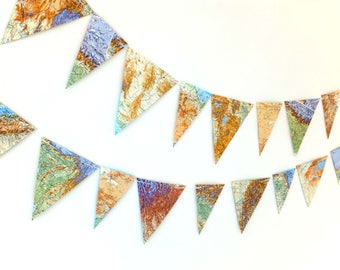 Map bunting - up-cycled garland, reclaimed map pennants, world atlas banner - 3 yards bunting