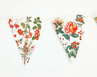 Red Flowers Bunting, recycled floral garland, botanical banner, up-cycled bunting, wedding decor, afternoon tea party