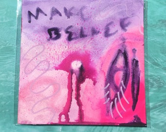 "Make Belief / Colorful Watercolor Painting on Artist Grade 8"" x 8"" Paper"