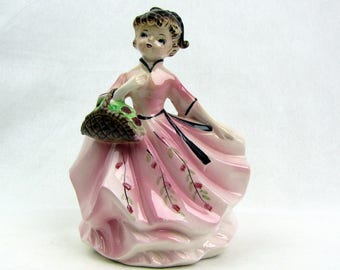 Vintage Girl in Pink Dress Flower Vase Planter Velco