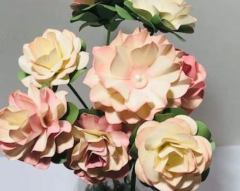 Handmade Paper flower, Glass Vase, Hand Sculpted 3D Paper Flowers in Glass Beaker,  Mother's Day Bouquet, Easter Bouquet, Hand Sculpted Rose