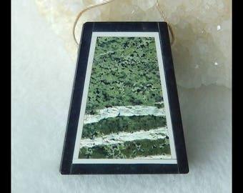 Green Zebra,White Jade,Black Stone Intarsia Pendant Bead,31x26x6mm,10.5g(f0154)