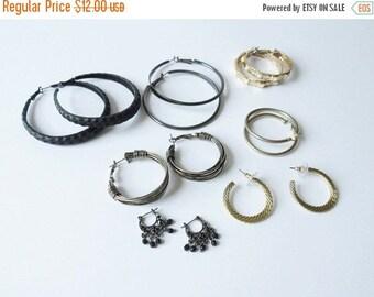 On Sale Hoop Earring Lot Vintage Hoop Earrings Black Gold Tone Gunmetal Jewelry Sale