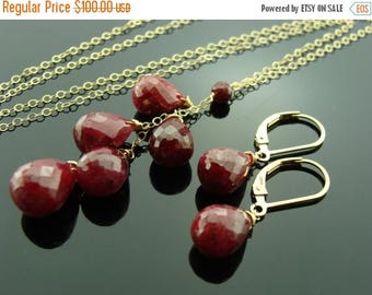 Genuine Ruby 14K Gold Filled Necklace and Earrings Set