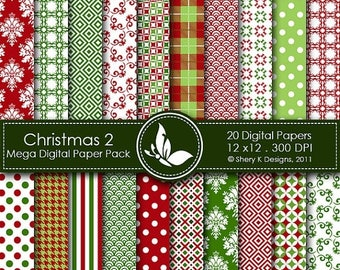 40% off Christmas Mega Paper Pack 2 - 20 Printable Digital papers - 12 x12 - 300 DPI  ////02