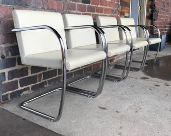 Set of 4 Brno Tubular Chrome Chairs Manufactured by Knoll