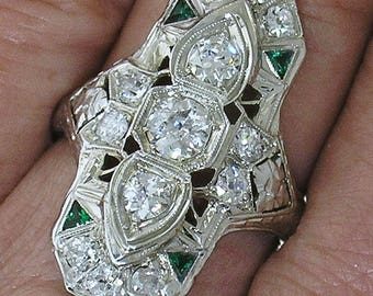 Edwardian Diamond Ring~Beautiful1905 Edwardian Diamond Ring w/ Emerald Accents