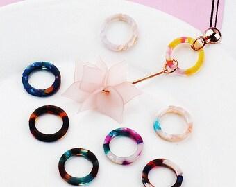 10 pcs 20mm Resin Rings/Connector/Pendants 8 colors