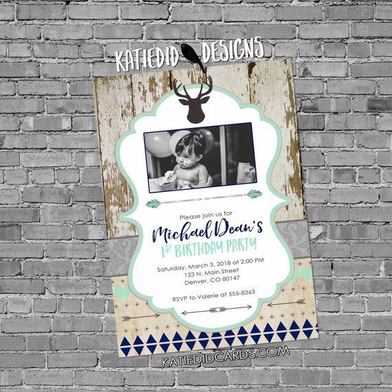 deer baby shower invitation | rustic baby boy shower | boy oh boy | wood tribal arrows deer invitation | 1st birthday | 1238b Katiedid Cards