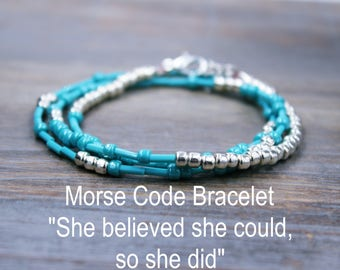 Inspirational Morse Code Bracelet, Turquoise Beaded Bracelet, Unique Gift for Her