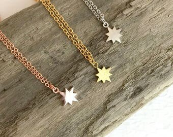 Tiny North Star Necklace, silver gold rose small charm celestial mini polaris dainty simple pendant birthday simple gift for her woman