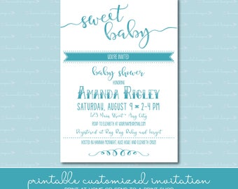 Sweet Baby Shower Invitation • Chalkboard Inspired