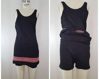Vintage 1920s Men's Bathing Suit / Black Wool / Men's Swimming Suit
