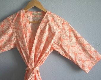Coral Maternity Robe. Coral Hospital Gown. Maternity Hospital Robe. Maternity Hospital Gown. Pink Peonies. Small thru Plus Size Kimono 2XL.