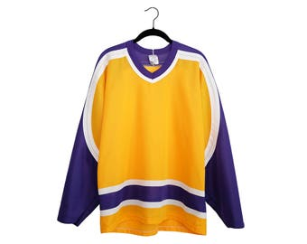 Vintage 80's CCM Purple & Yellow Blank Hockey Jersey, Made in USA - Large