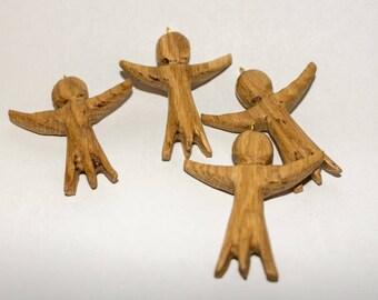 Wooden pendant angel cross