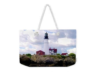 Weekender Tote Bag, Patrushka Maine Tote Bag, Portland Head Light, Cape Elizabeth, Overnight Bag, Gym Bag! Canvas Tote, FREE SHIPPING USA