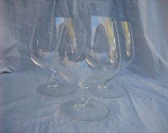 Set of Three Large Vintage Clear Wine Glasses w/ Stems
