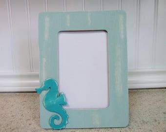 Coastal Beach Frame with Seahorse