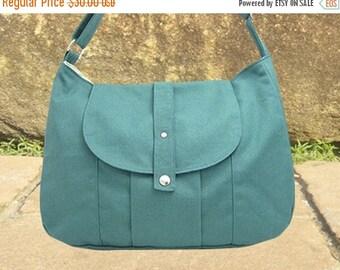 On Sale 20% off Teal green cotton canvas messenger bag / shoulder bag / everyday bag / diaper bag / cross body bag - 6 pockets