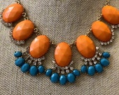 orange necklace, statement necklace, coral Necklace, Rhinestone Necklace, blue Statement Necklace, Jewelry, gift for mom, girlfriend gift