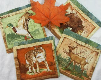 Quilted Coasters (4) -  Adirondack Animals #4