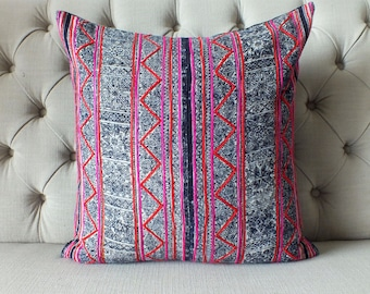 Vintage Batik Hmong Pillow Cover, Indigo Cotton Cushion Cover, Tribal Throw Pillow Case, Hill Tribe Ethnic Pillow Case