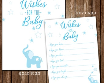 Elephant Wishes For Baby Boy/Elephant and Star Theme/Baby Shower Game/1st Birthday/Decor/Sign/Twinkle Little Star