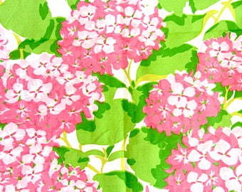 Linen Fabric Remnant, hand print fabric, hydrangea fabric, upholstery fabric, fabric remnant, curtain fabric, pink green white,San Francisco