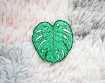 Iron On Patch - Monstera Leaf Iron-On Embroidered Chenille Patch - Iron-On - Sew On Patches