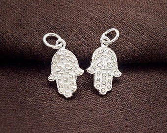 2 of 925 Sterling Silver  Little  Hamsa , Hand Of Fatima Charms 11x15 mm. :th2627