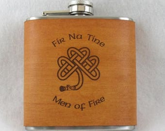 ON SALE Irish Flask - Flask with Hand Dyed Engraved Leather Wrap - Fireman