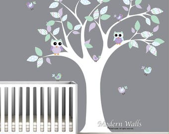 Tree Wall Decal with Owls and Birds-Nursery Wall Stickers-Vinyl Wall Decals-Chevron Pattern-Lilac, lavender, mint green-Children's Decor