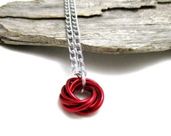 Shiny Red Mobius Chainmaille Necklace - Shiny Red Mobius Pendant - Chain Maille Pendant with Chain - Fidget Necklace - Red Pendant Necklace
