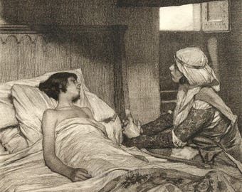 Giovanna Tending to Her Son by Tito Lessi, Antique 10x12 Sepia Engraving c1890s, From The Decameron by Giovanni Boccaccio, FREE SHIPPING