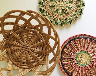 Wall basket set, Boho wall decor, vintage basket, wall art, boho basket decor, Vintage straw trivets, Bohemian decor