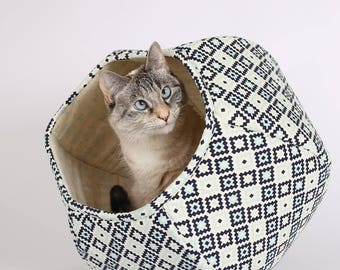 Navy Blue, Aqua and Ivory cat bed in Geometric Fabric - the Cat Ball modern cat furniture, cotton fabric cat bed, cat hideaway