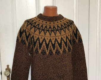 Vintage Men's Norwegian Wool Ski Sweater large