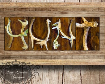 "Alphabet Photography Antler Letter Photo Art ""HUNT"" Various sizes framed and unframed"