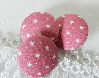 Fabric button pink stars, 24 mm in diameter