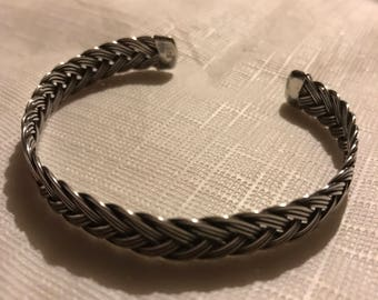 Vintage Braided Sterling Silver Cuff Bracelet