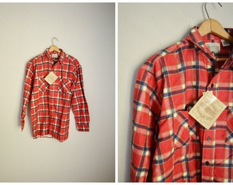 vintage 80s 90s red blue white plaid flannel grunge classic deadstock shirt -- mens medium