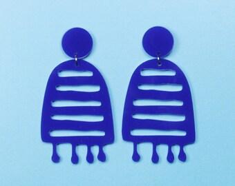 POP JEWELS - Pop Biggies Earrings - Laser Cut - Blue Acrylic Earrings