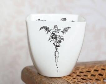 Ceramic Mug with Carrot, Mug for Vegetarian, Handmade Porcelain Mug