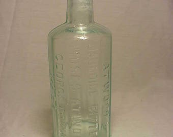 c1890 Atwood's Jaundice Bitters Moses Atwood Georgetown, Mass., Cork top Aqua Blown Glass Bitters Patent Medicine Bottle No.5